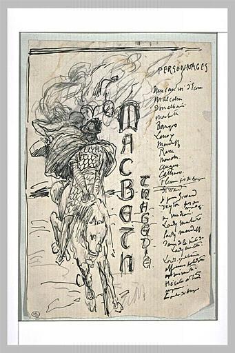 Projet de frontispice pour Macbeth avec un cavalier galopant, de face