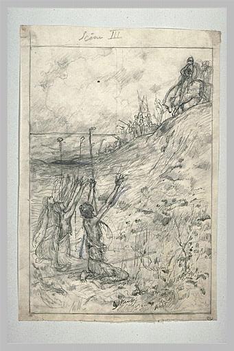 Projet d'illustration pour Macbeth : les trois sorcières agenouillées