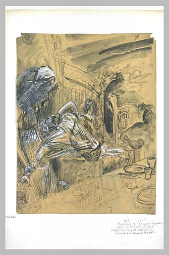 Projet d'illustration pour Macbeth: apparition du spectre à Macbeth