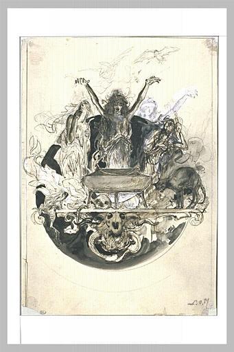 Projet d'illustration pour Macbeth : les sorcières dansant autour_0