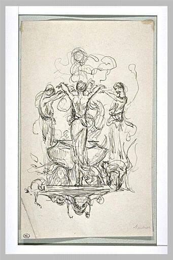 Projet d'illustration pour Macbeth : les trois socières font la ronde