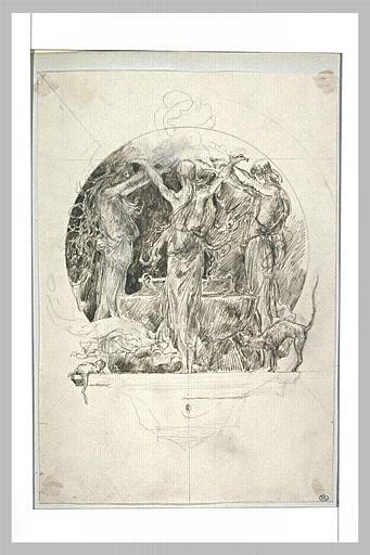 Projet d'illustration pour Macbeth : sorcières dansant autour du chaudron