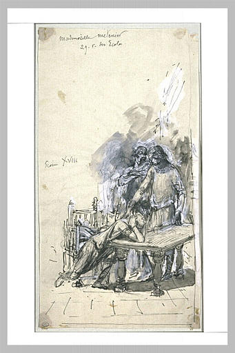 Projet d'illustration pour Macbeth : Ross apprend à Macduff le massacre