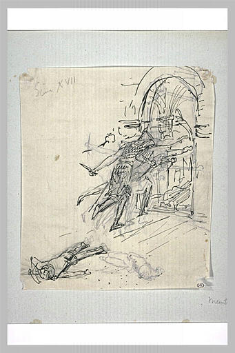 Projet d'illustration pour Macbeth : assassinat du fils de Macduff