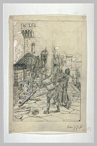 Projet d'illustration pour Macbeth : Macbeth frappe le messager