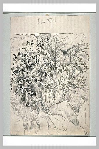 Projet d'illustration pour Macbeth : les soldats portant des branchages