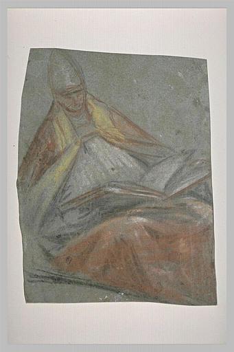 Figure d'évêque assis, tourné vers la droite, un livre sur les genoux