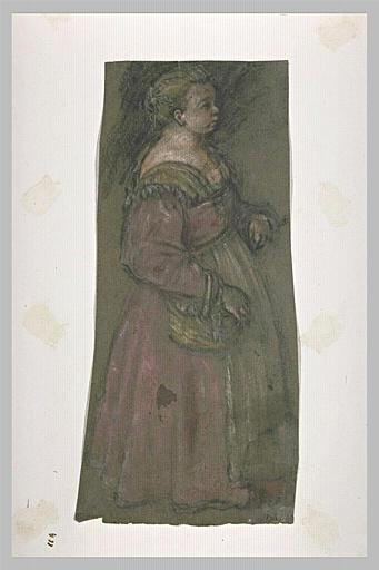 Jeune fille portant un panier au bras