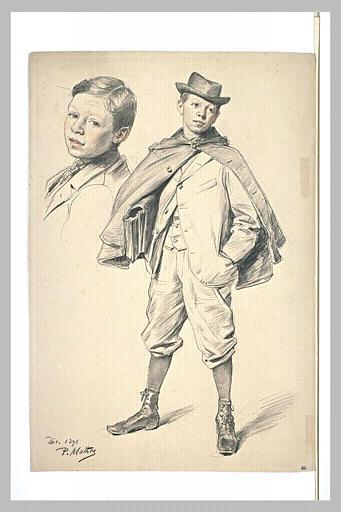 Portrait d'un jeune garçon, de trois quarts à gauche ; reprise de la tête
