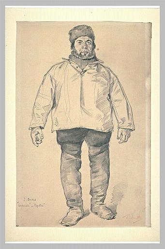 Portrait d'un pêcheur, debout, de face, chaussé de grandes bottes_0