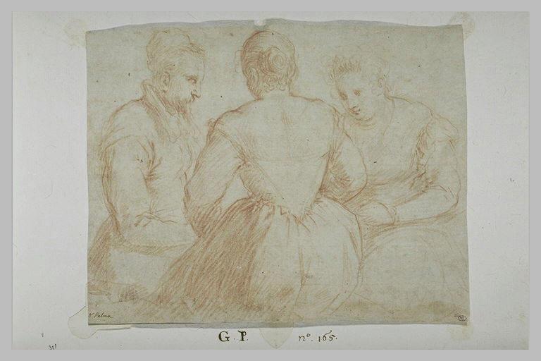 Trois personnages, assis, en conversation ou jouant