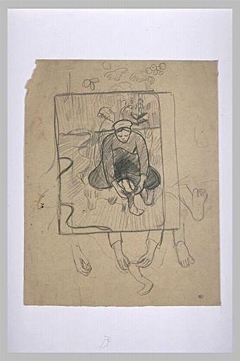 Bretonne assise dans un paysage, dans un cadre ; reprise des pieds et mains