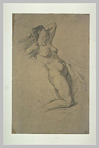 Etude de femme nue, la main gauche derrière la tête