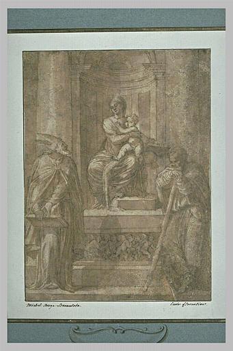 La Vierge et l'Enfant sur un trône entoure d'un évêque et d'un saint