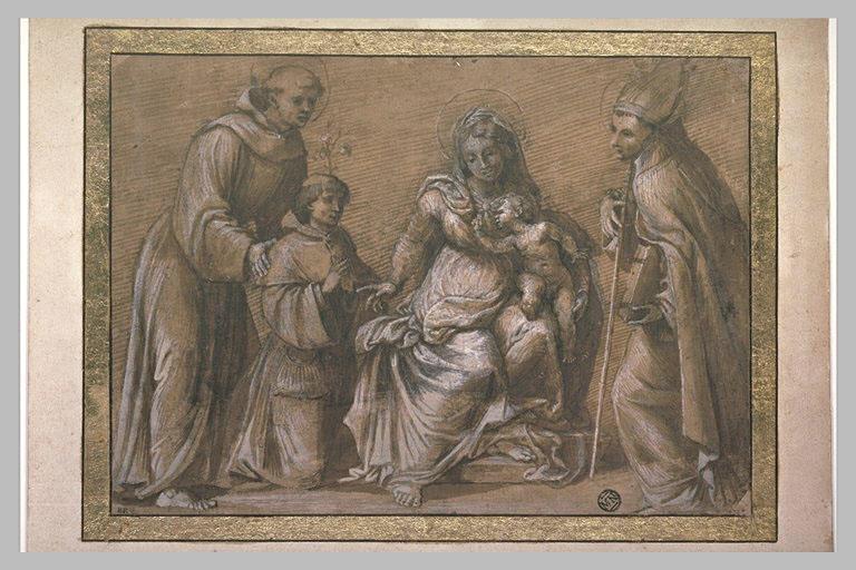 Vierge à l'Enfant, saint Antoine de Padoue, un saint évêque et le donateur