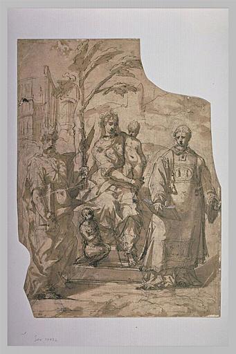 Vierge à l'Enfant, avec le petit saint Jean, saint Pierre et saint Etienne_0