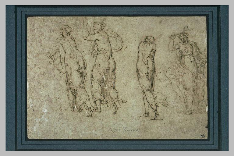 Trois figures de femmes vues de dos et une quatrième avec une épée