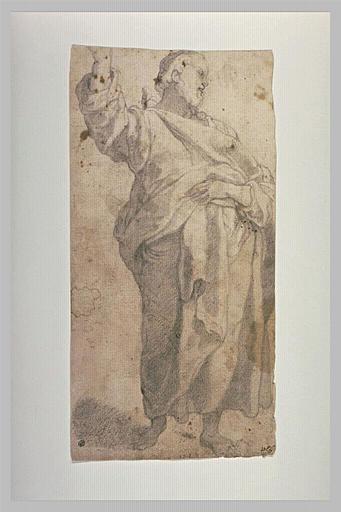 Homme debout, drapé, le bras droit levé : étude pour Jésus-Christ