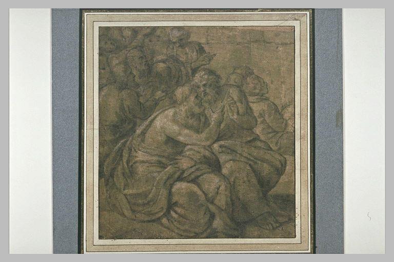 Groupe d'hommes et de vieillards, assis, regardant vers la droite