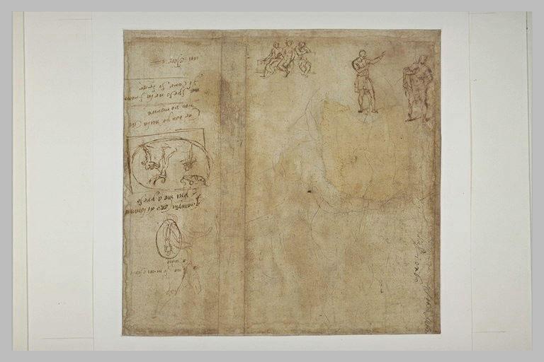 Petites études de figures, annotations, esquisse de composition ovale
