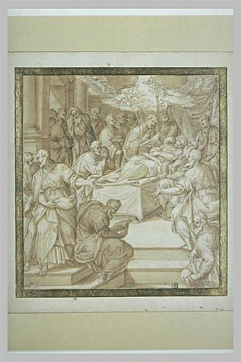 La Mort de la Vierge entourée d'apôtres en prière et en larmes
