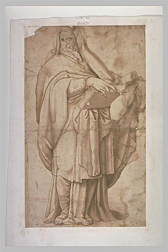 Un apôtre debout tenant un livre et un rouleau de papier
