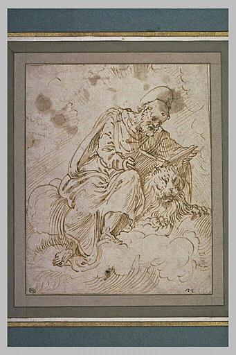 Saint Marc assis sur des nuages, appuyé sur un lion