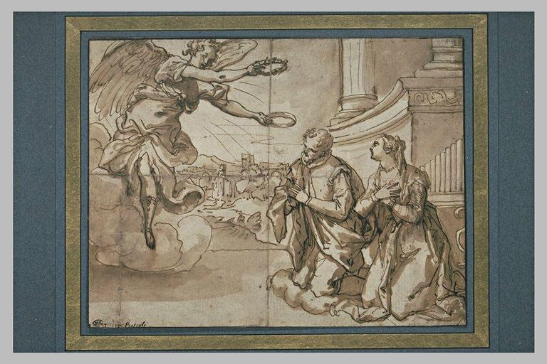 Un ange couronnant sainte Cécile et saint Valérien