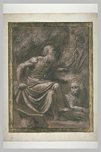 Saint Jérôme assis, un crucifix dans la main