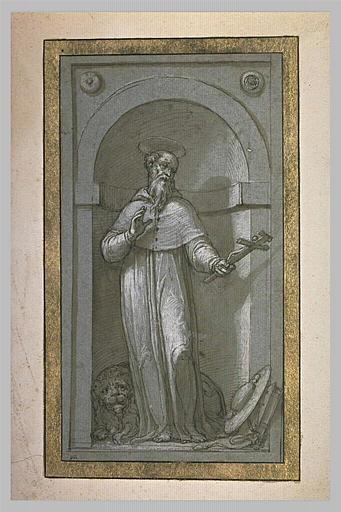 Saint Jérôme debout en habit de cardinal