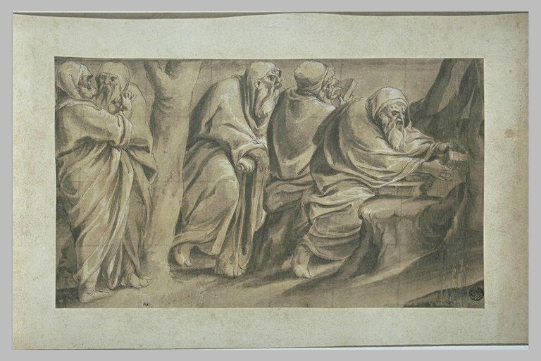 Cinq hommes agés lisant et discutant près de deux arbres
