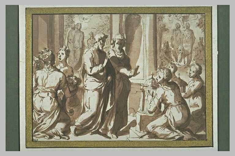 Plusieurs figures : femmes portant des fleurs, vieillards