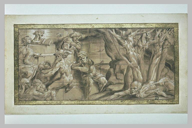 Mercure entouré de figures : frise illustrant les Métamorphoses (?)