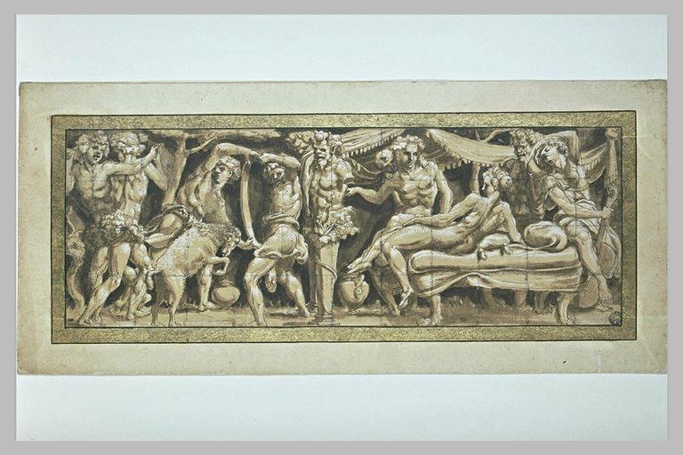 Bacchus et Ariane assis sur un lit, près du terme de Priape