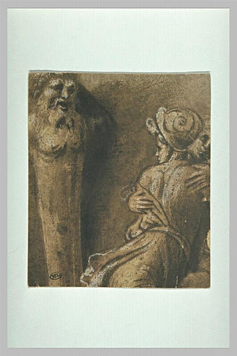 Un terme et deux figures vues à mi-corps: détail de l'Enlèvement des Sabines