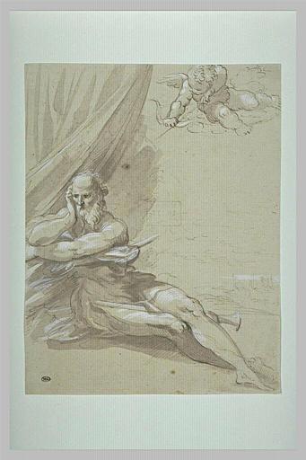Un amour lançant une flèche sur un vieillard assis