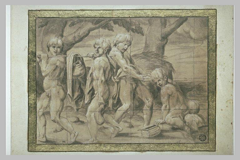 Cinq figures d'enfants nus