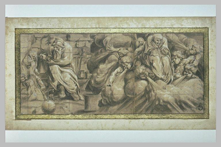 Frise mythologique : trois figures et femme au milieu des vents