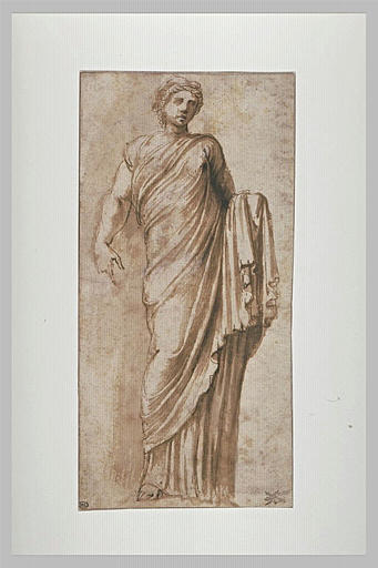 Femme debout, drapée: statue antique de Koré (?)