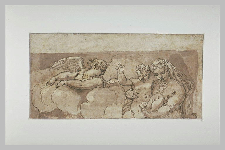 Vierge à l'Enfant dans les nuages, avec un ange