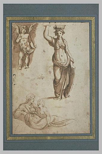 Enfant ailé avec une guirlande ; cariatide ; femme drapée avec un enfant