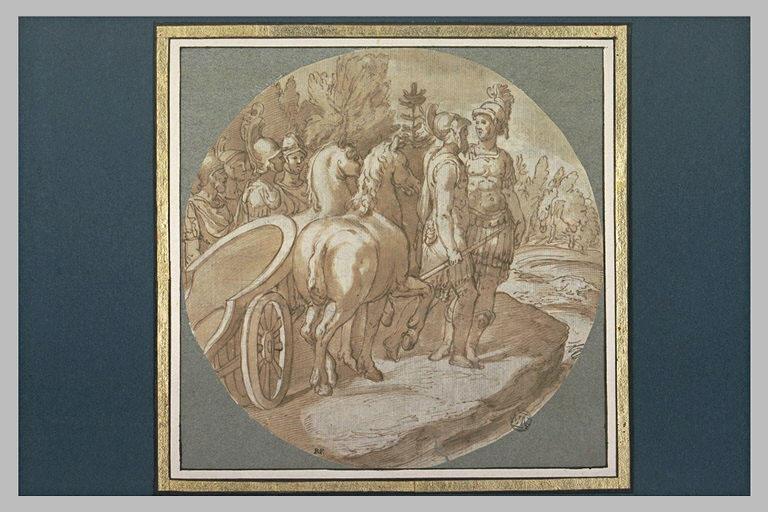 Deux généraux romains, descendus de leur char, discutant près de leur armée