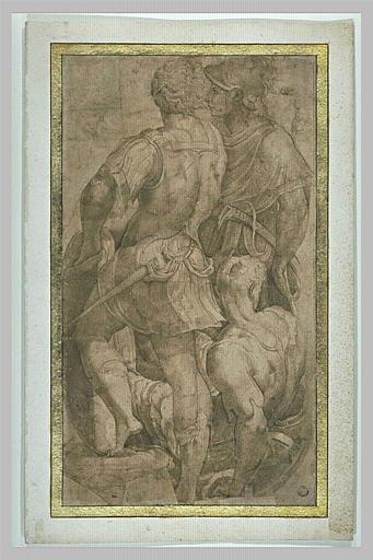 Groupe de trois guerriers vêtus à l'antique