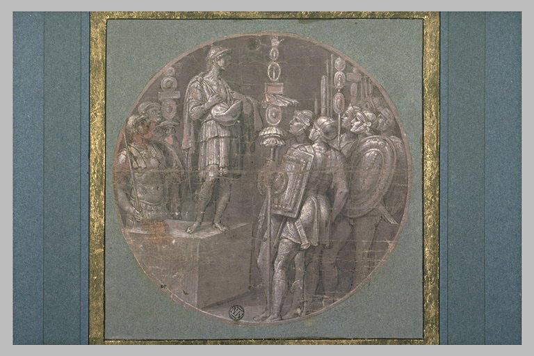 Homme sur un piédestal s'adressant à des guerriers en montrant sa poitrine