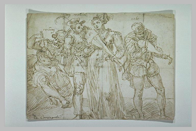 Mascarade : trois hommes et une femme jouant du violon