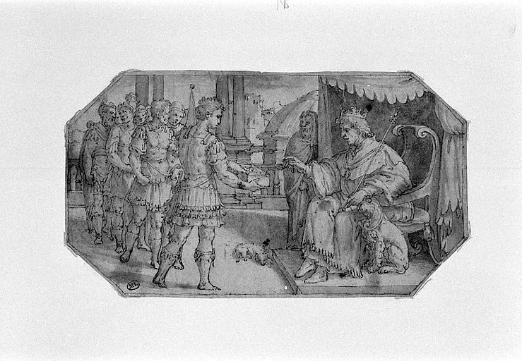 Un guerrier montrant du butin à un souverain