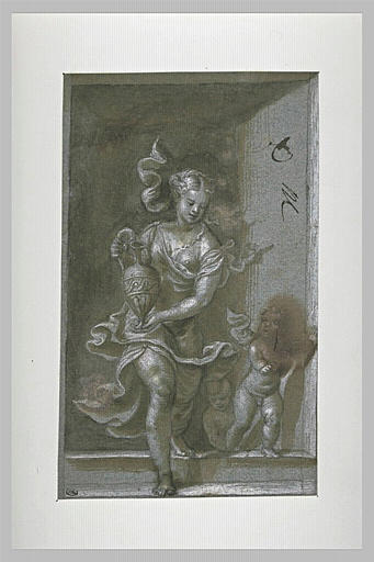 Deux enfants, et une femme tenant un vase