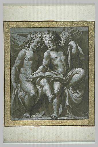 Deux anges assis sur des draperies lisant un livre