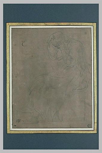Femme assise, de profil, la tête dans les mains