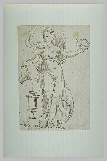 Femme vêtue à l'antique, versant un liquide dans une urne